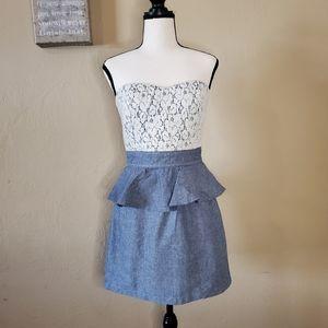 Trixxi Size 5 Strapless Blue & White Lace Dress.